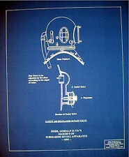 Vintage Hard Hat Diving Helmet & Air Regulator 1895 Blueprint Plan 15 x 18 (211)