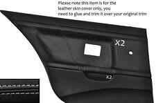 GREY STITCH 2X REAR DOOR CARD LEATHER COVERS FITS BMW E36 SALOON SEDAN 91-98