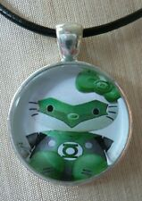 ** Hello Kitty GREEN LANTERN ** Glass Pendant with Leather Necklace