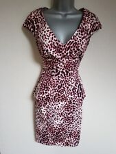 BNWT New LIPSY Pink Black Grey Leopard Animal Print Peplum Shift Dress 10 £65