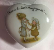 Holly Hobbie Heart Porcelain Trinket dish W/Lid Love Is The Little Things You Do