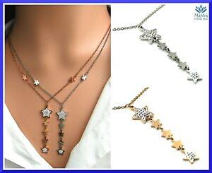 Collana da donna girocollo in acciaio inox con stelle stelline catena argento b