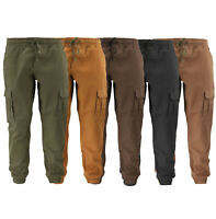 Men's Casual Athletic Cotton Joggers Gym Workout Elastic Waist Cargo Pants