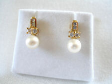 6 mm Pearl Solitaire & .12 Ct. White Sapphire  10k Gold Earrings