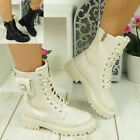 Punk Goth Lace Up Zip Boots Lined Shoes Ladies Pocket Chunky Heel Womens Size