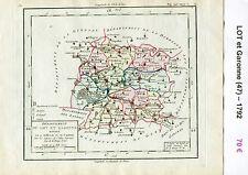 Dépt 47 - Carte du Lot et Garonne Superbe Gravure Cuivre Aquarellée de 1792
