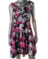 NEW Womens Lauren Ralph Lauren Navy Floral Print Sleeveless Party Dress AU14
