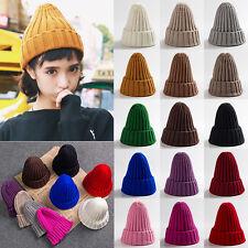 New Fashion Women Winter Unisex Men Knit Beanie Fur Baggy Wool Cap Ski Hat