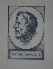 """J.L. PERRICHON (1866/1946) Bois Gravé   """" GEORGE MEREDITH   """"  Signé"""