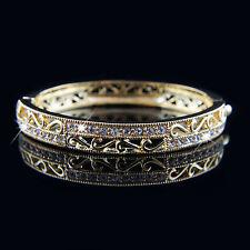 18k Gold Plated Swarovski Crystals Filigree Antique Stye Bangle Bracelet