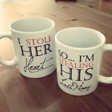 His and Hers Matching Coffee Mug Cup Set - Stealing Heart and Last Name (MC025)