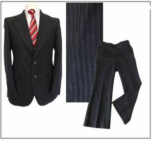 """Vintage Dunn & Co GB mens 2 piece suit Ch40""""R W36"""" L29"""" Charcoal Stripe Flares"""