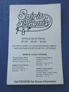 1975-76 Spirits of St. Louis ABA Basketball Team Pocket Schedule