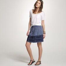J.Crew Women's Denim Embroidered Zafrina Skirt Boho Size Small 100% Cotton