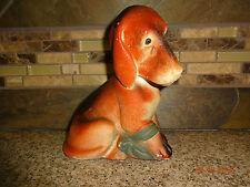 "Vintage Dog Hound with Bow on Leg 6"" Chalkware Figure Figurine"