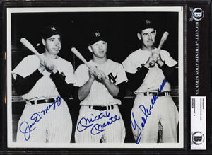 Joe DiMaggio Mickey Mantle Ted Williams Signed Photo Encapsulated BAS Beckett