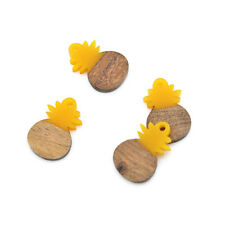 2 Pineapple Natural Wood and Yellow Resin Charms 27mm - WP001