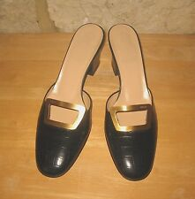 New Bally Ladies Size 40.5 Black Leather Slip on 3'' Cuban Heel Shoes Mules