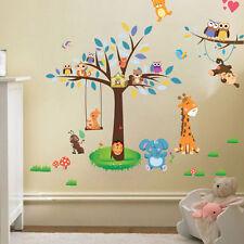 Jungle Animal Theme Wall Sticker Monkey Giraffe Owls Tree Kid Nursery Art Decal