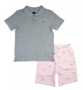 Nautica Boys Gray Polo 2pc Short Set Size 2T 3T 4T 4 5 6 7 $59.50