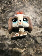Littlest Pet Shop Lhasa Apso Dog # 2130 Authentic Lps Red Bow Blue Eyes