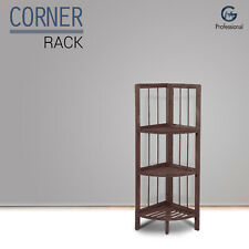 Luxury Wooden Corner Shelf Standing Shelving Rack Home Decoration Unit 3 Tiers