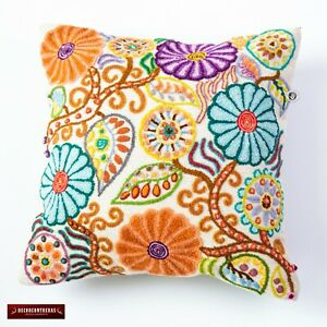 "Embroidered pillow cover 16x16"" from Peru, pillowcases handmade, floral design"