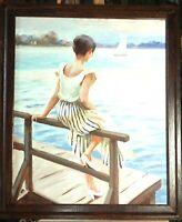 huile /toile  - tableau - Jeune femme assise   - signée Alexander SHEVCHUK