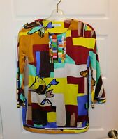 Emilio Pucci Multi Mod Bird Print Silk V-neck Tunic Blouse Top sz 6