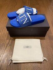 $310 Mens Authentic Valentino Garavani Logo Pool Slide/sandal Blue Size 45/12
