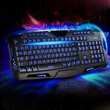 Gaming Gamer Tastatur Keyboard Blau LED Beleuchtet Rücklicht USB Kabel PC Laptop