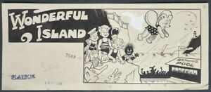 WALDEN Dessin original anglais Paru dans PLAYBOX en 1949 WONDERFUL ISLAND