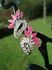 Ruby Wispy Wings Marquise Micro Cz 343 - Estate 925 Sterling Silver Earrings