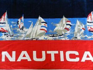 "NWT Nautica Beach Pool Bath Towel 100% Cotton 35""x66"" Red Navy Sailboats"
