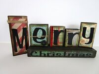 Reversible Wood Blocks Happy Thanksgiving Merry Christmas Jeweled Button Accents
