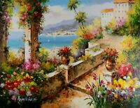 Signed Mediterranean View, Stretched Oil Painting On Canvas, 30x40 inches