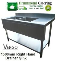 Sink Catering Kitchen Stainless Steel Sink Double Bowl 1500mm With Valance