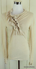CAbi M Beige Stretch Knit Ruffle Front Ruched Sleeve Knit Top