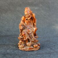 """5"""" Old China Antique Boxwood carved Lohan sitting statue Decoration Jewelry"""