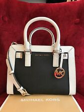 NWT MICHAEL KORS LEATHER DILLON SMALL TZ SATCHEL BAG IN BLACK/WHITE (SALE!!)