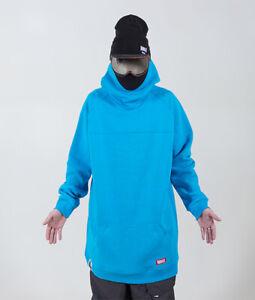New Men's Oversized ski Hoodie snowboard Sweat Jacket Sweatshirt Long Tall blue