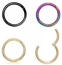 Septum Clicker Nose Ear Ring Captive Hinged Segment Titanium Colour Piercing CZ