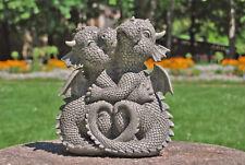 Gartenfigur Gartendrache - Modell kuschelnd - Fantasy Figur Deko Drache Garten