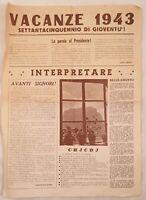 VACANZE 1943 GIOVENTU ACI ROMA TESTI CANZONI REGOLAMENTO CONCORSO