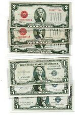 1928F $2 Red Seal & 1935E $1 Silver Certificate note lot of 1 each