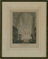 J. Le Keux after F. Mackenzie - Framed 1816 Etching, Norwich Cathedral Church