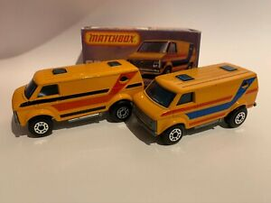 VINTAGE MATCHBOX CHEVROLET VAN #68 2 VARIATIONS WITH BOX IN NM CONDITION