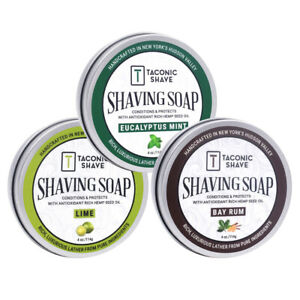 Handcrafted Shave Soaps - 3 Pack Variety -Taconic Shave USA - Large 4 oz. Puck