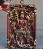 Tibet Buddhism Old Wood Painte Guanyin KuanYin Buddha Statue Tangka Wall Hanging
