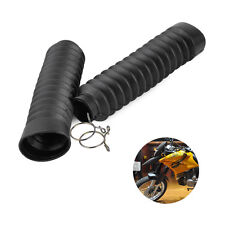 2x Black Motorcycle Rubber Front Dust Boot Cap Fork Shock Absorber Gaiter Covers